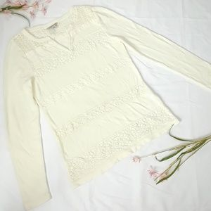 Lucky Brand Ivory Lace Thermal Top Sz M